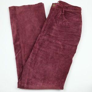 Sutton Studio Maroon Leather Pants, Size 10